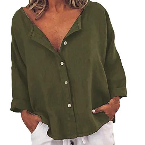 Pullover Sweatshirt für Damen,Kobay 2019 Halloween Heiligabend Weihnachten Christmas Loses Baumwoll-Leinen-T-Shirt mit einfarbigen Knöpfen und Blusen -
