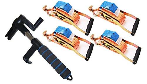 1 Stück Spanngurtaufroller und 4 Spanngurte 5t x 8m,2-tlg für Pkw, Lkw, Anhänger Lieferwagen,Handwerker usw.