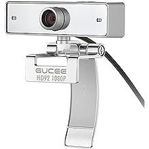 2MP Webcam 1080P, GUCEE HD92 Cámara Web de Alta Definición con Micrófono de Anulación de Ruido, Web Cam con un Campo de Visión de 110 Grado y Conector USB 2.0, Webcam Objetivo de Vidrio de Alta Precisión para Ordenadores, PC, Mac, Portátil, Etc., Skype Web Camera Plug and Play Compatible con Windows 10, 8, 7, XP - Plata