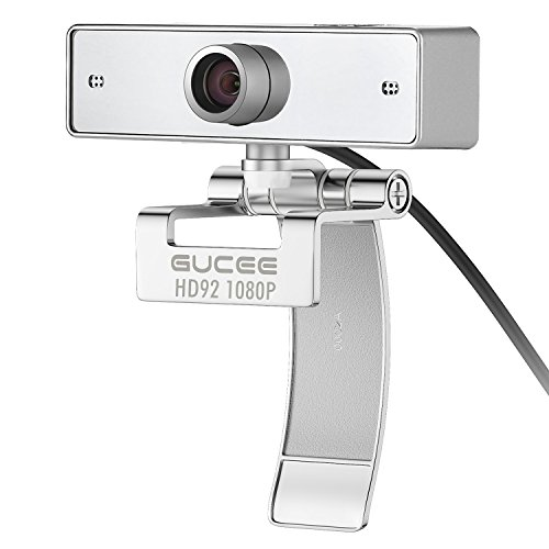 Webcam 1080P, GUCEE HD92 Full HD Web Camera 2.0 Magapixel, USB Web Cam mit Noise Cancelling Mikrofon für Skype, Google Hangouts, Youtube, Compatibel PC Laptop Desktop Notebook, kompatibel mit Mac, Windows XP SP2 / Visa / 7 / 8 / 10