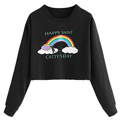 Gallity Women Blouse Damen Winter Sweatshirt Langarm Regenbogen Buchstaben Bluse Hoodie Pullover Bluse M schwarz