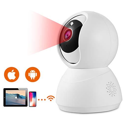 IP Kamera HD 1080p WLAN Überwachungskamera IP-Kamera Schwenkbar mit Bewegungserkennung, Nachtsich und 2 Wege Audio, Unterstützung Android IOS PC für Baby Haustier Überwachung Weiß