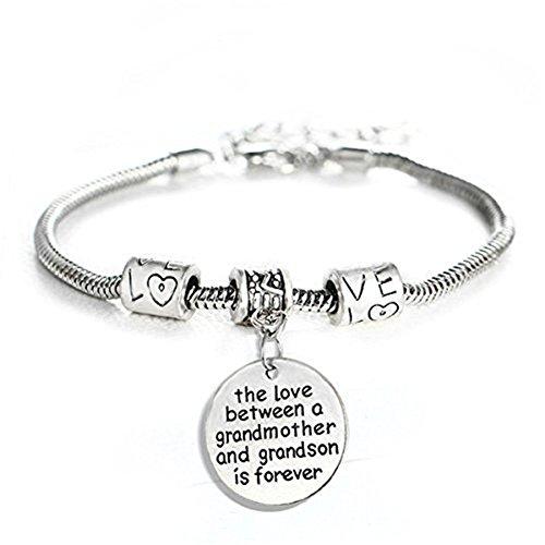 Feifanmall Amour Entre Une Grand Mère Et Petit Fils Est Forever Bracelet Amour Charms Texte Pendentif Bracelet Bijoux Tendance Membre De La Famille