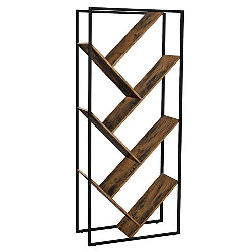 VASAGLE Bücherregal, Wohnzimmerregal in Baumform, asymmetrisches Standregal im Industrie-Design,...