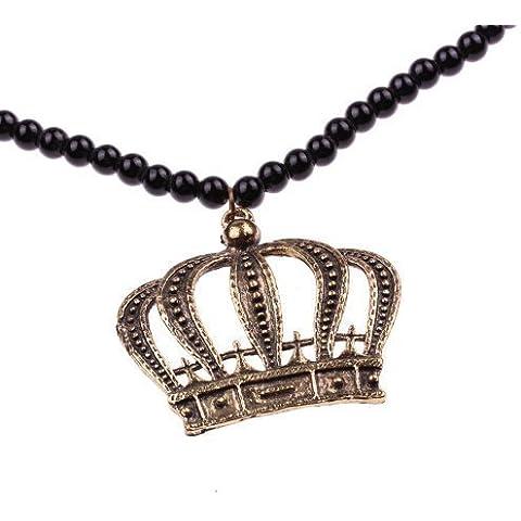 Corone unacollana - ca, 80 cm collana lunga - ciondolo a forma di corona in bronzo collana di perle in bianco e