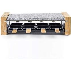 H.Koenig Appareil à raclette Multifonction 8 personnes WOD8 Design en bois naturel, Pierre granit amovible, Raclette fromage fondue professionnel, 8 poêlons antiadhésifs, 8 spatules en bois