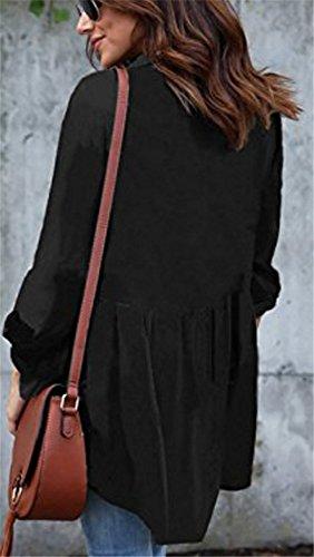 YOGLY Chemise Femme Chic Manches Longues Fluide Top Casual Classique Blouse Chemise Col V Mode Top Noir