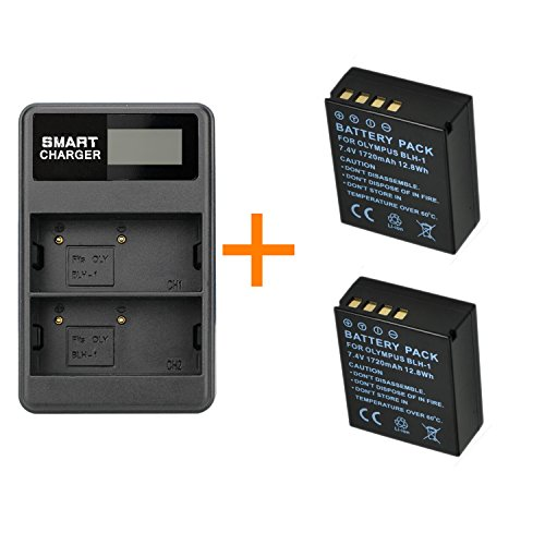 2 Stück 1720mAh BLH-1 BLH1 Kamera Akku mit Dual-Ladegerät für Olympus Digitalkameras EM1 Mark II EM1-2 EM1 Mark 2 (2 Stück Akku mit Ladegerät)