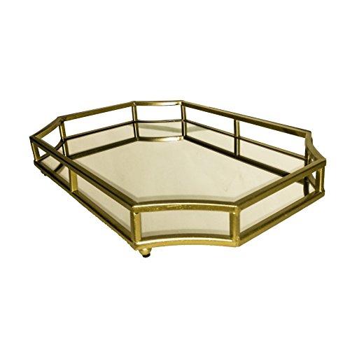 Présentoir en métal doré avec Miroir en Ardoise et Rose 45,5 cm x 30,5 cm x 6 cm