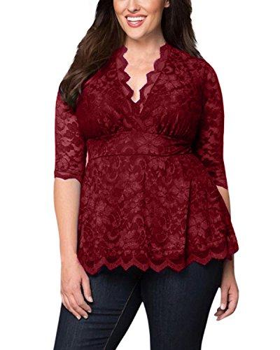 SUNNYME Damen 1/2 Ärmel Plus Size V-Ausschnitt Blumen Spitze Crochet Shirt Bluse Tops Wein Rot EU 48 (V-ausschnitt Top Spitze)