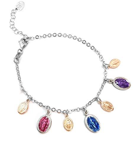 Ikonen-Armband für die Dame aus Silber 925 - wundertätige Muttergottes mit farbigen Glasuren - Linea Italia, Schmuck Made in Italy