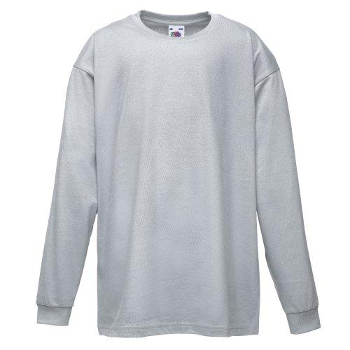 Fruit of the Loom Unisex Langarm T-Shirt 'Kids Value Weight T' 61-007-0 Heather Grey 104 (69 Langarm-t-shirt)