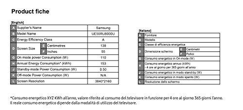 Samsung UE55RU8000U Smart TV 4K Ultra HD 55″ Wi-Fi DVB-T2CS2, Serie RU8000 2019, 3840 x 2160 Pixels, Nero