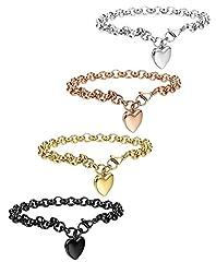 Idea Regalo - BESTEEL 4Pcs Bracciali in acciaio inossidabile per donne Bracciale a catena a maglia cuore 19 cm