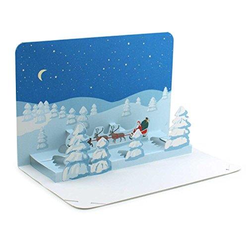 'paesaggio invernale con babbo natale winterliche pop up della carta/3d della cartolina di natale con apertura a libro e posizionamento