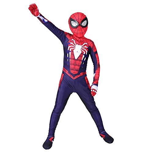 Spiderman Kinder Cosplay Kostüm Overall PS4 Spider Man Kostüm Kinder Body Spandex Overalls Rollenspiel Kleidung,ChildrenRedBlue-XL(145-155cm) (Macht Eine Spiderman Kostüm)