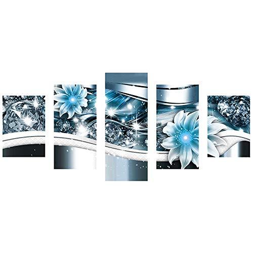 DIY 5D Diamant Painting Yesmile Stickerei Malerei Diamant Crystal Strass Stickerei Bilder Kunst Handwerk für Home Wall Decor Gemälde Kreuzstich Blume Bild Muster 5-teiliges Set -