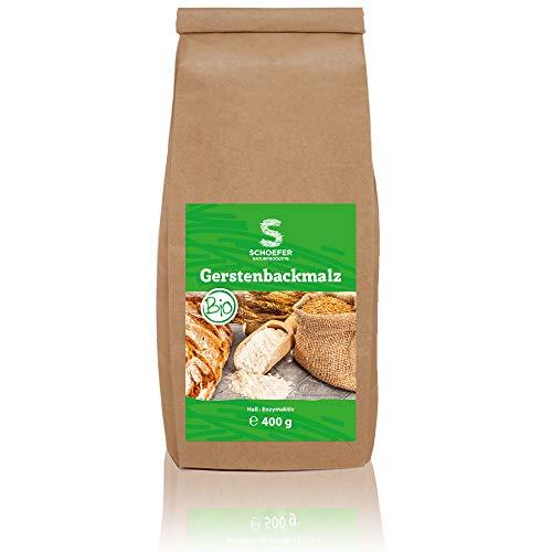 Schoefer Bio Backmalz hell - enzymaktives Malzmehl - 100% Gerste ohne Zusatzstoffe - Gersten-Malz für knusprige Brote und Brötchen - 400g
