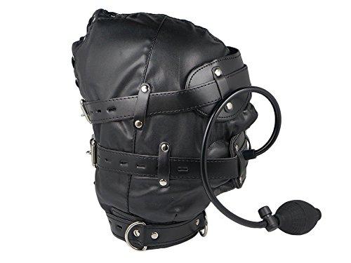 Isolationsmaske mit Pump Dildo Knebel Sklaven Maske schwarz Pumpknebel