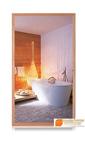 Infrarotheizung Spiegel mit Holz Rahmen in Buche - Spiegelheizung mit Rahmen, 600 Watt - 110 x 60 x 3 cm