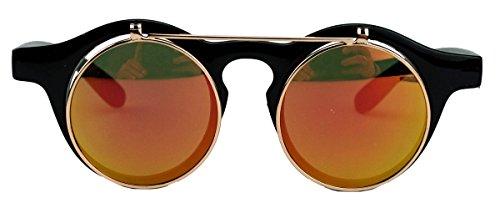 50er 60er Jahre Retro Sonnenbrille klappbare Gläser rund Vintage Steampunk Flip up FARBWAHL FL97 (Fire Mirror)