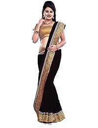 Govindam Women's Chiffon Saree With Blouse Piece (V1535_Black)