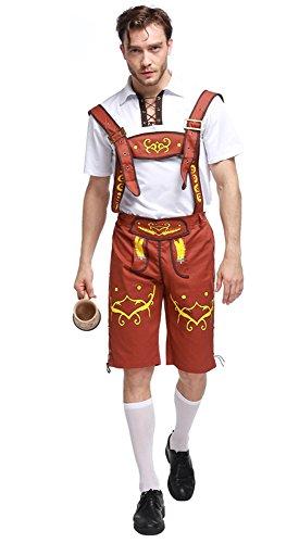 Honeystore Herren Halloween Kostüme Bedienung Uniform Cosplay Allerheiligen Kleider für Oktoberfest Braun XL (Dirndl Kostüm Mieten)