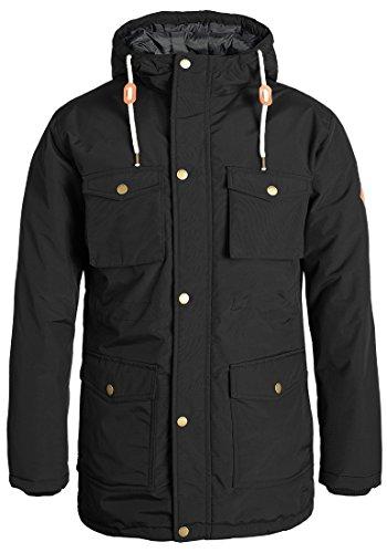 REDEFINED REBEL Melton Herren Winterjacke Jacke mit hochabschließendem Kragen und gefütterter Kapuze, Größe:M, Farbe:Black