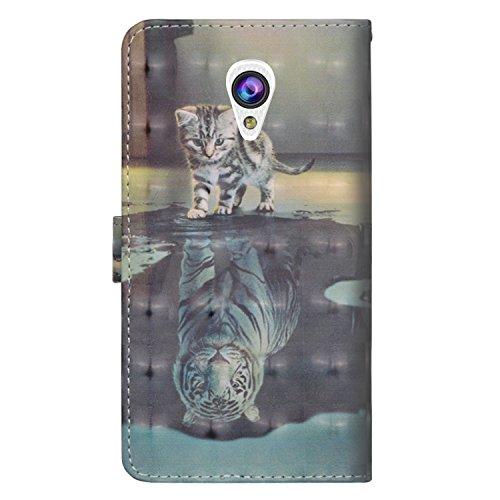 sinogoods Für Alcatel U5 3G / 4047D / 4047 Hülle, Premium PU Leder Schutztasche Klappetui Brieftasche Handyhülle, Standfunktion Flip Wallet Case Cover - Katze Tiger