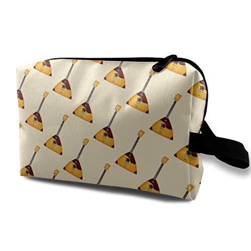Balalaika Music Pattern Small Cosmetic Bags Travel Makeup Bag Fashionable Organizer For Women Girls