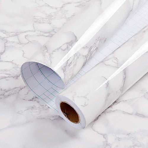 """CAOXN 15,7""""x 118,1"""" Marmor Papier Granit Grau/Weiß Roll Küchenarbeitsplatte Kabinett Möbel ist renoviert Dickes wasserdichtes PVC praktischeWs Leicht zu entfernen, ohne Spuren zu hinterlassen Upgrade"""