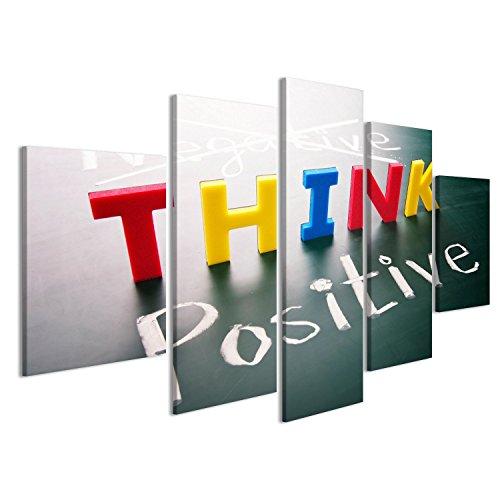 Cuadro Cuadros Pensar en positivo pensar, las palabras de colores, no negativos positivos en la pizarra Impresión sobre lienzo - Formato Grande - Cuadros modernos