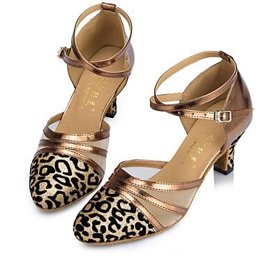 XIAMUO Anpassbare Damen Tanzschuhe Latin/Jazz/Modern/Swing Schuhe/Salsa/Samba funkelnden Glitter angepasste Ferse Rot