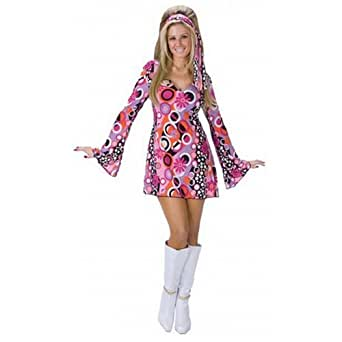 Ladies Sexy 60s 70s Decades Pink Feeling Groovy Hippy Chick Fancy Dress Costume Outfit Amazon