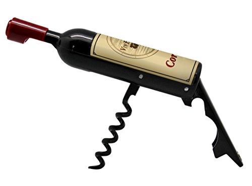 VinBouquet Décapsuleur Mini Bouteille, ABS et SS, Noir et Bordeaux, 13 x 2.5 x 2.5 cm