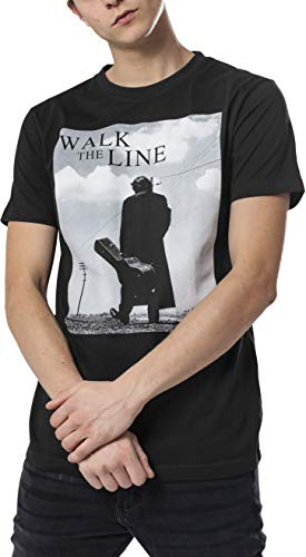 Rock-legende T-shirt (MERCHCODE Jungen Johnny Cash Walk The Line Tee 1012_t-Shirt Kurzarm, Black, L)