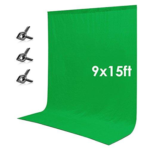 Neewer 9 x 15 Piedi/2.7 x 4.6 Metri Verde Chromakey Muslin Fondale Sfondo con 3 Morsetti per Foto in Studio