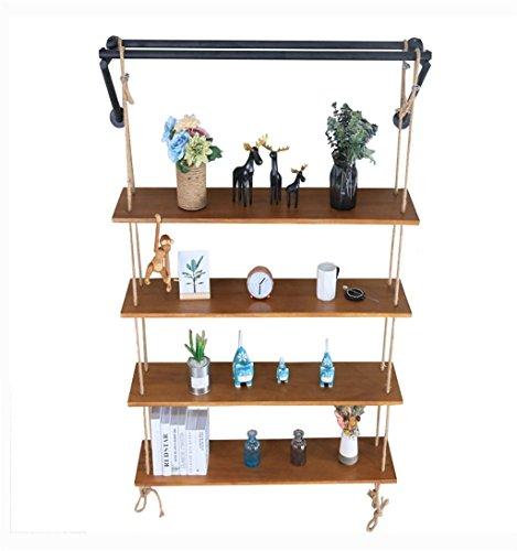 Schweberegale 4-Tiers Holz Wandregal mit Hanfseil Schwarz Metall Klammern Hängeregal für Schlafzimmer als Bücherregal Lagerregal Vintage Industrie Dekorationen Design (größe : 100×28cm) -