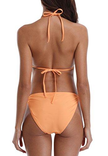 Charmo Damen Triangle Bikini Mit Schalen Bandeau Bademode Swimsuit Classic Unifarben Bikini Set Orange