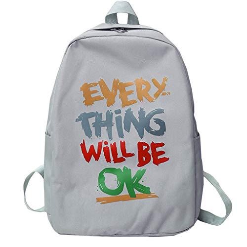 DOFENG Damen Oxford Draussen Brief Reißverschluss Daypack Handtaschen Rucksack Schultaschen Schulrucksack Tagesrucksack Umhängetasche Reiserucksack für Schule Reise Arbeit (Grau, One Size) -
