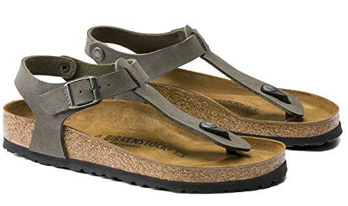 Sandalo infradito unisex Birkenstock. art. 147161, mod. kairo, colore khaki verde, tomaia in Birkoflor