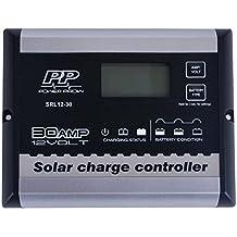 powerprow (TM) Solar controlador de carga 12V 30A PWM Solar Panel Regulador con LCD Pantalla