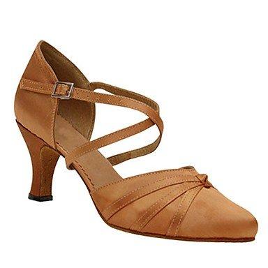 XIAMUO Anpassbare Women's Latin Ballroom Dance moderne Schuhe Satin Sandalen angepasste Ferse Professional/innen Gelb/Rot Rot