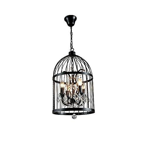 Cage d'oiseaux Lustre Suspendu Retro Industrial Design créatif Cristal Plafonnier Volière lampe luminaire pendentif ,E14*4,Ø35cm,Max