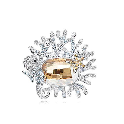 JIANG Frauen Brosche, Micro-Set Kristall Kreative Hippocampus Seestern Brosche mit Swarovski Kristall, Brosche kann als Geschenk verwendet Werden,A -