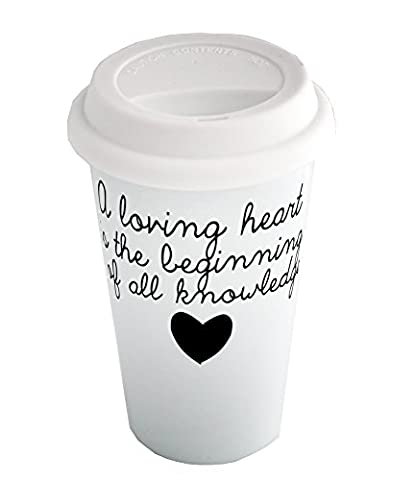 Coffee cup with A loving heart is the beginning of all knowledge