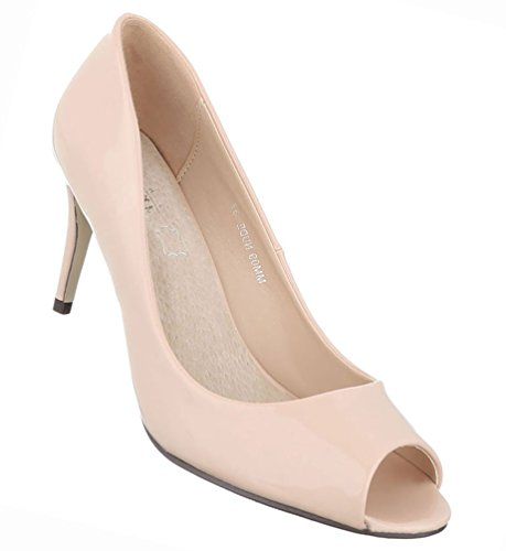 Damen Schuhe Pumps Peep Toe High Heels Stiletto Schwarz Beige