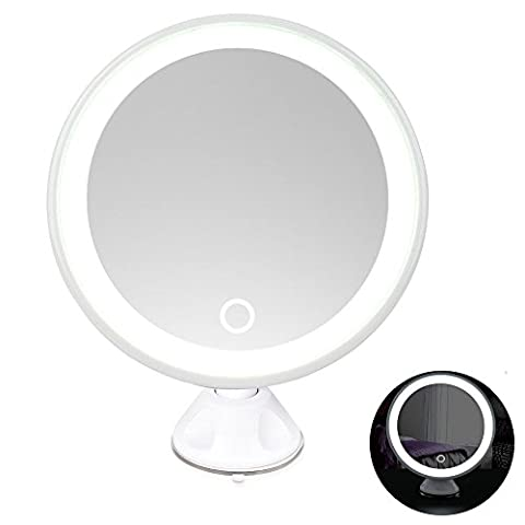 Rantizon LED Makeup Mirror 7X Magnifying Lighted Illuminated Cosmetic Mirror 360° Rotation Adjustable Suction Mounted USB Rechargeable Battery Shaving Mirror Tabletop Bathroom