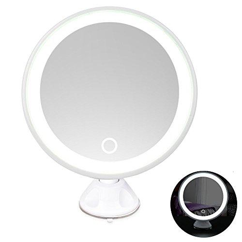 Rantizon Espejo para Maquillaje con 7X de Aumento y LED Espejo de Afeitar con giratoria de 360° Base de Ventosa Espejo cosmético USB Recargable para maquillar, usar hilo dental, Tocador de Baño