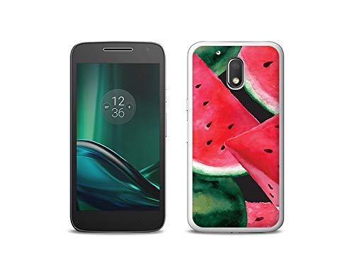 etuo Handyhülle für Lenovo Moto G4 Play - Hülle, Silikon, Gummi Schutzhülle - Gemalte Wassermelone